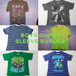 "Other - 6 boy short sleeve shirts bundle 34"" waist"